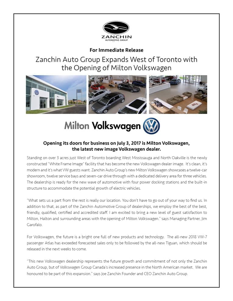 Milton Volkswagen press release